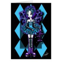 myka, jelina, gothic, fairy, fantasy, dragonflies, harlequin, fairies, faery, faeries, art, Cartão com design gráfico personalizado