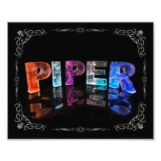 Piper  - The Name Piper in 3D Lights (Photograph) Photo Print