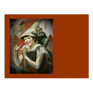 Piper with a Monkey Postcard