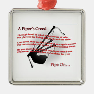 Piper's Creed Square Metal Christmas Ornament
