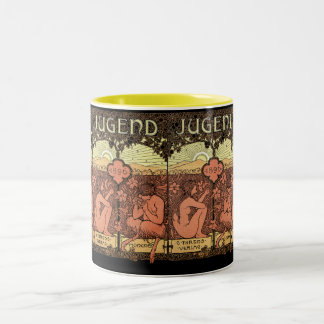 Pipes of Pan - Jugend Magazine May 1896 Two-Tone Coffee Mug