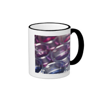 Pipette and petri dishes with fluids ringer mug