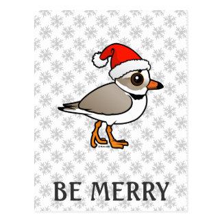 Piping Plover Santa Postcard
