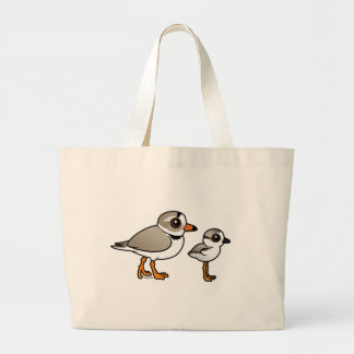 Piping Plover with chick Large Tote Bag