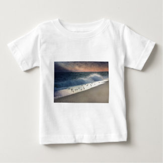 Piping Plovers and Peach and Blue Sunset Baby T-Shirt