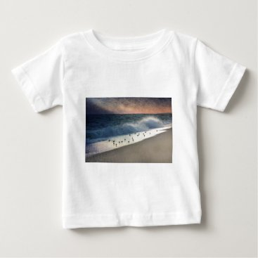 Beach Themed Piping Plovers and Peach and Blue Sunset Baby T-Shirt