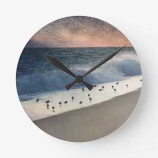Piping Plovers and Peach and Blue Sunset Round Clocks