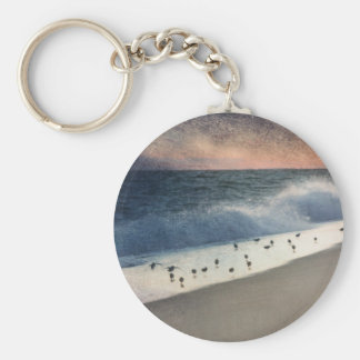 Piping Plovers and Peach and Blue Sunset Keychain