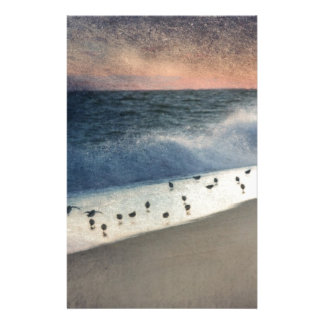 Piping Plovers and Peach and Blue Sunset Personalized Stationery