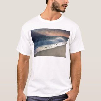 Piping Plovers and Peach and Blue Sunset T-Shirt