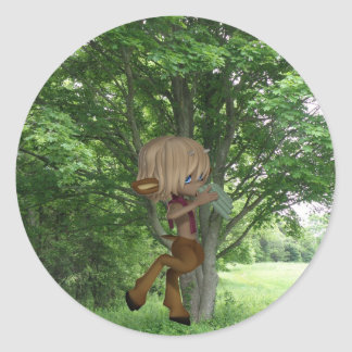 Piping Satyr Classic Round Sticker