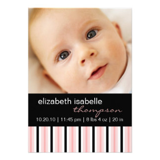 Pippy Pink Stripe Baby Girl Photo Announcement