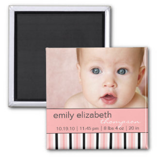 Pippy Pink Stripe Baby Photo Magnet