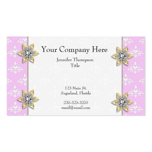 Pique con la tarjeta de visita del damasco de las