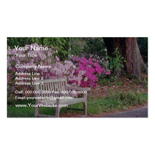 Pique las flores del banco del jardín plantillas de tarjeta de negocio