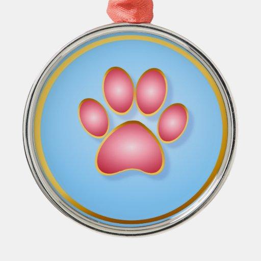 Pique los ornamentos de la pata del gatito del oro adorno navideño redondo de metal