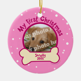 Pique mi perro personalizado primer navidad de la adorno navideño redondo de cerámica