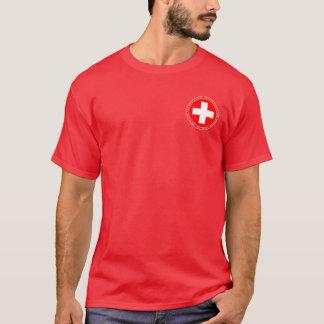 Piqueros suizos rojos y camisa blanca del sello