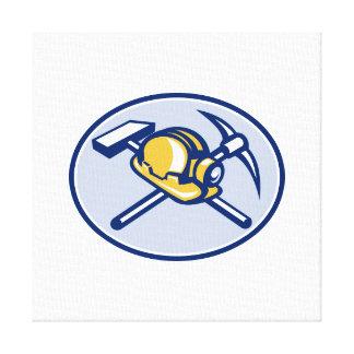 Piqueta y martillo cruzados casco de protección de impresion de lienzo