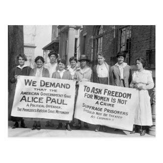Piquetes del sufragio de las mujeres 1917 postal