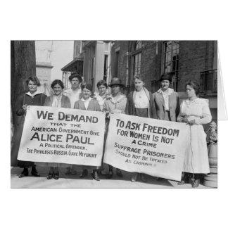 Piquetes del sufragio de las mujeres, 1917 tarjeta de felicitación