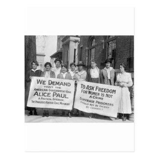 Piquetes del sufragio de las mujeres, 1917 postal