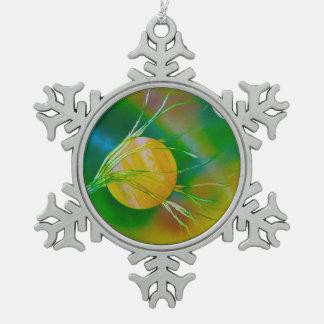 pirámide amarilla verde del árbol spacepainting adorno de peltre en forma de copo de nieve