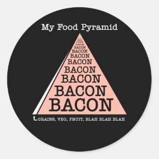 Pirámide de alimentación del tocino etiquetas redondas