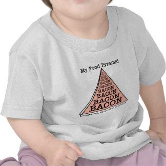 Pirámide de alimentación del tocino camisetas