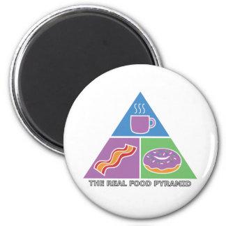 Pirámide de alimentación real - café, tocino, anil imán de frigorifico