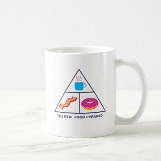 Pirámide de alimentación real - café, tocino, anil tazas de café