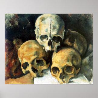 Pirámide de Cezanne del poster de los cráneos
