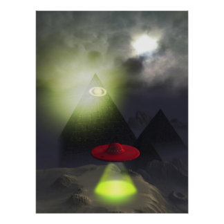 Pirámide de Illuminati e impresión del UFO Póster