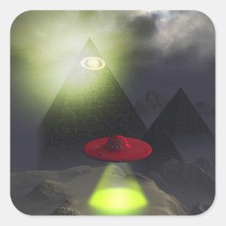 Pirámide de Illuminati y pegatina del UFO