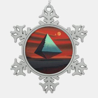 Pirámide de la luna adorno de peltre en forma de copo de nieve