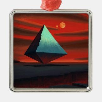 Pirámide de la luna adorno cuadrado plateado
