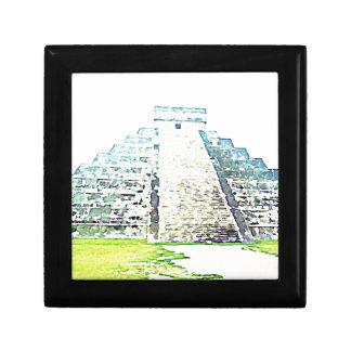 Pirámide del diseño de la acuarela de Chichen Itza Cajas De Regalo
