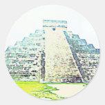 Pirámide del diseño de la acuarela de Chichen Itza Pegatina Redonda