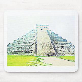 Pirámide del diseño de la acuarela de Chichen Itza Tapete De Raton