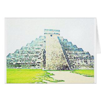 Pirámide del diseño de la acuarela de Chichen Itza Tarjeta