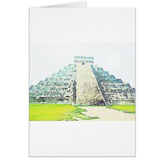Pirámide del diseño de la acuarela de Chichen Itza Felicitación