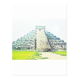 Pirámide del diseño de la acuarela de Chichen Itza Postal