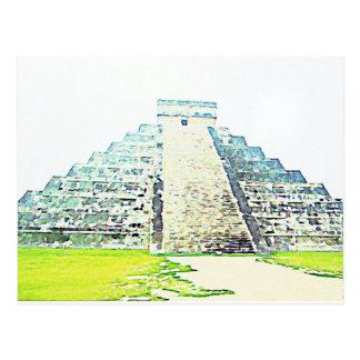 Pirámide del diseño de la acuarela de Chichen Itza Postales