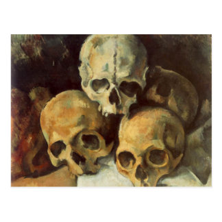 Pirámide del vintage Halloween de los cráneos Postales