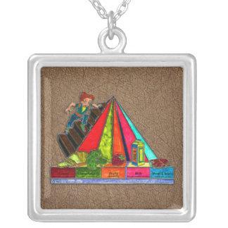 Pirámide diaria de los grupos de alimentos colgante cuadrado