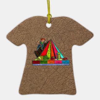 Pirámide diaria de los grupos de alimentos adorno de cerámica en forma de playera