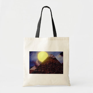 Pirámide egipcia con el sol en fondo bolsa tela barata