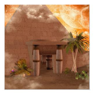 """Pirámide en la puesta del sol invitación 5.25"""" x 5.25"""""""