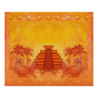 Pirámide maya, poster de México