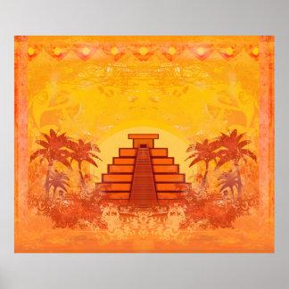 Pirámide maya, poster de México Póster